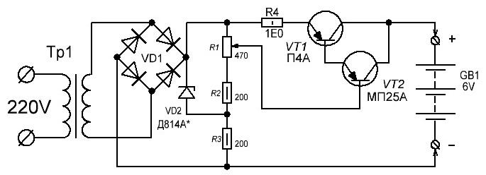 ток через транзистор VT1