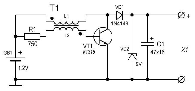 напряжение (5.6V — 9V).
