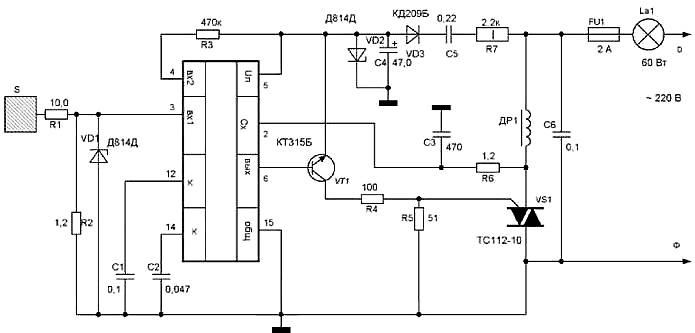 ...узла управления симистором на транзисторе VT1, R4, R5.