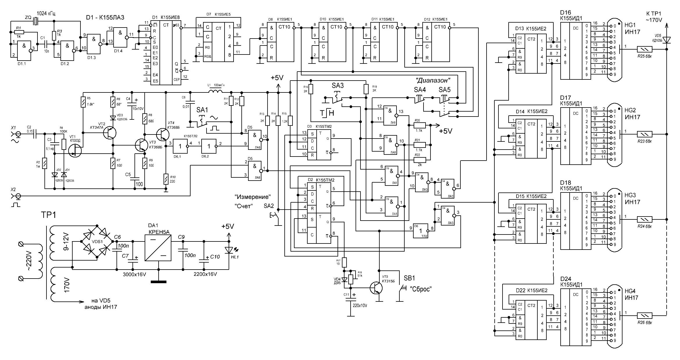 Частотомер на к155 микросхемах
