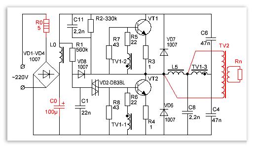 Схема эконом лампы
