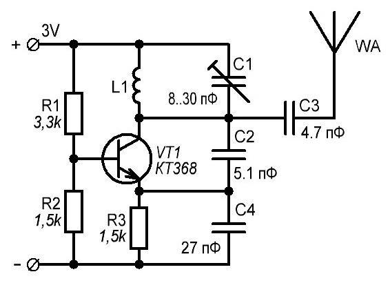 R1 - 3.3k, R2 - 1.5k,