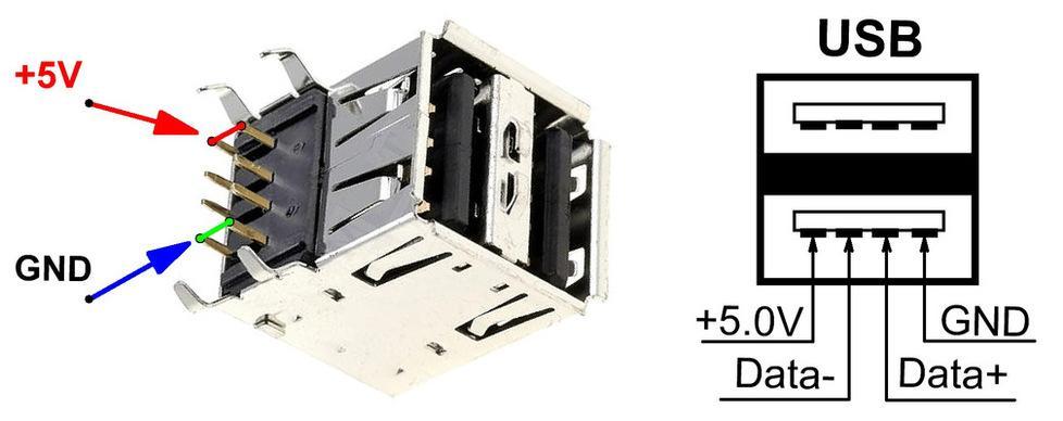Подключения USB разъема к
