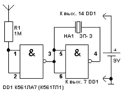 """Пьезоизлучатель типа ЗП-3 включен по мостовой схеме, что обеспечивает повышенную громкость  """"треска """".  На..."""