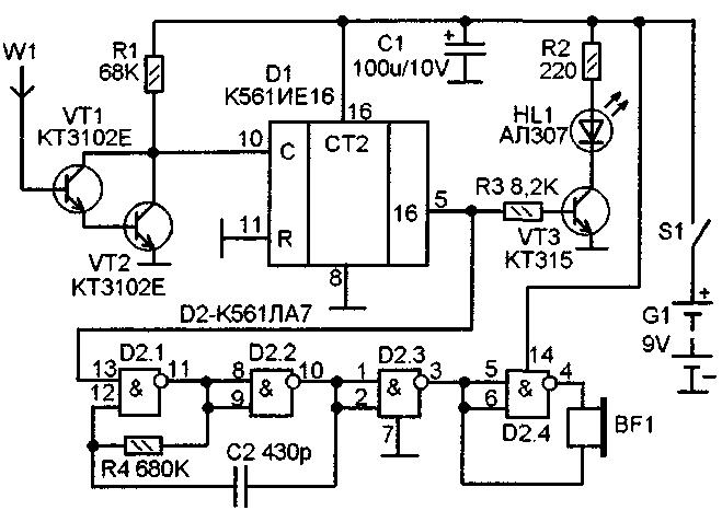 W1. кусок монтажного провода длиной около 25 см, расположенный по периметру узкой боковой части корпуса прибора.
