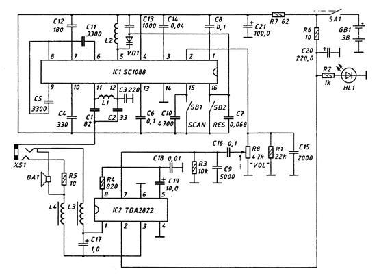 TDA2822 по мостовой схеме.