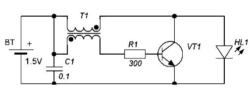 Схема преобразователя для фонарика